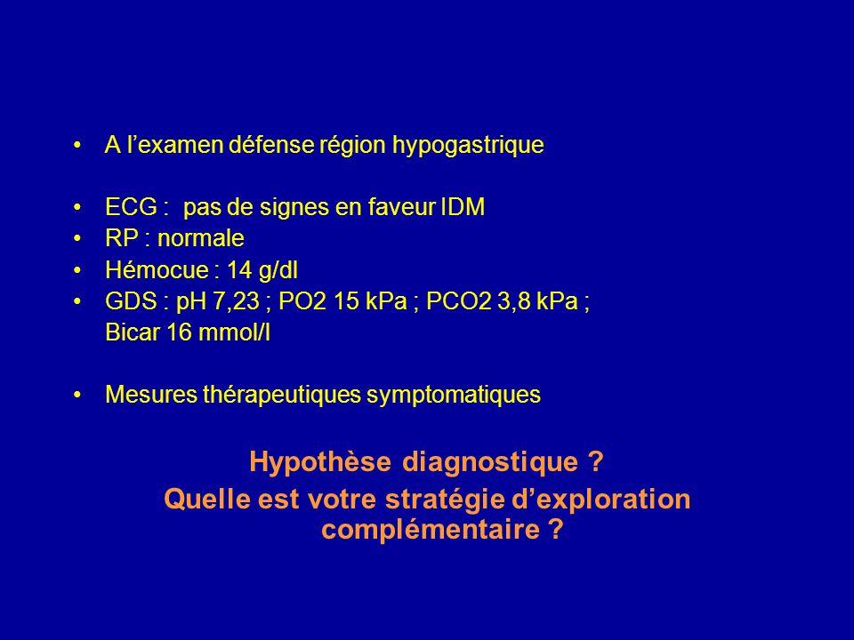TA = 150/80, FC = 110, SpO2 = 94 %, polypnée superficielle, teint grisâtre, agitation, EVA à 9 Quels signes cliniques recherchez-vous à lexamen ? Quel