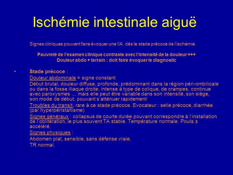 Ischémie intestinale aiguë Le diagnostic repose sur un faisceau darguments : aucun signe spécifique, importance du terrain. Cependant, le pronostic re