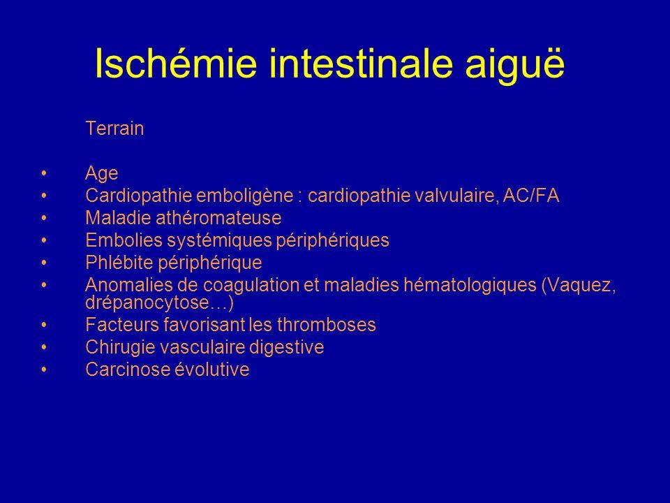 Ischémie intestinale aiguë Biologie : hyperleucocytose, hémoconcentration, acidose métabolique débutante avec hyperlactacidémie, amylasémie et des pho