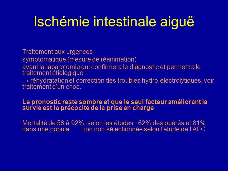 Ischémie intestinale aiguë Angioscanner : examen de référence à lheure actuelle Sensibilité 90% Prise de contraste en cible de la paroi avant la premi