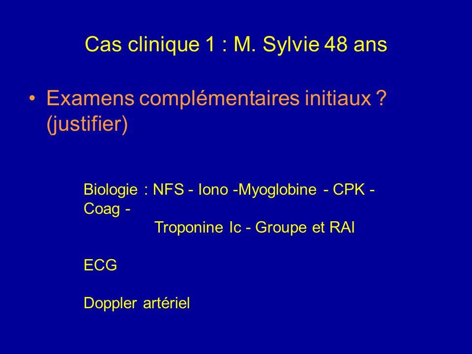 Cas clinique 1 : M. Sylvie 48 ans Mécanismes possibles arguments cliniques Embolie Thrombose Ischémie aiguë complète de niveau aorto- iliaque Diagnost