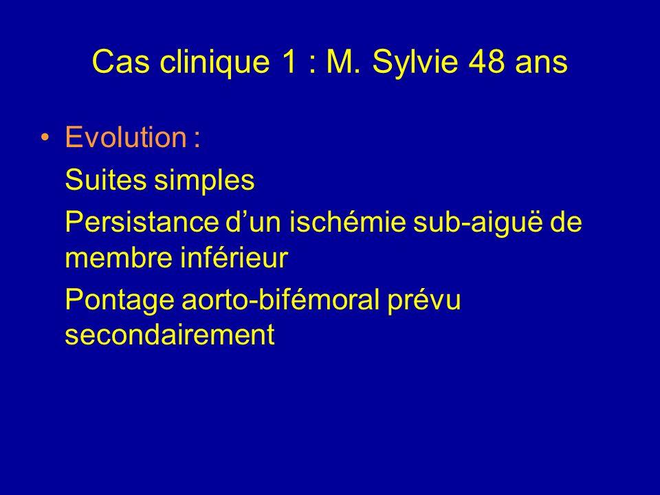 Cas clinique 1 : M. Sylvie 48 ans Quelles complications redoutez-vous en post-opératoire ? Récidive de la thrombose Rhabdomyolyse Syndrome de revascul