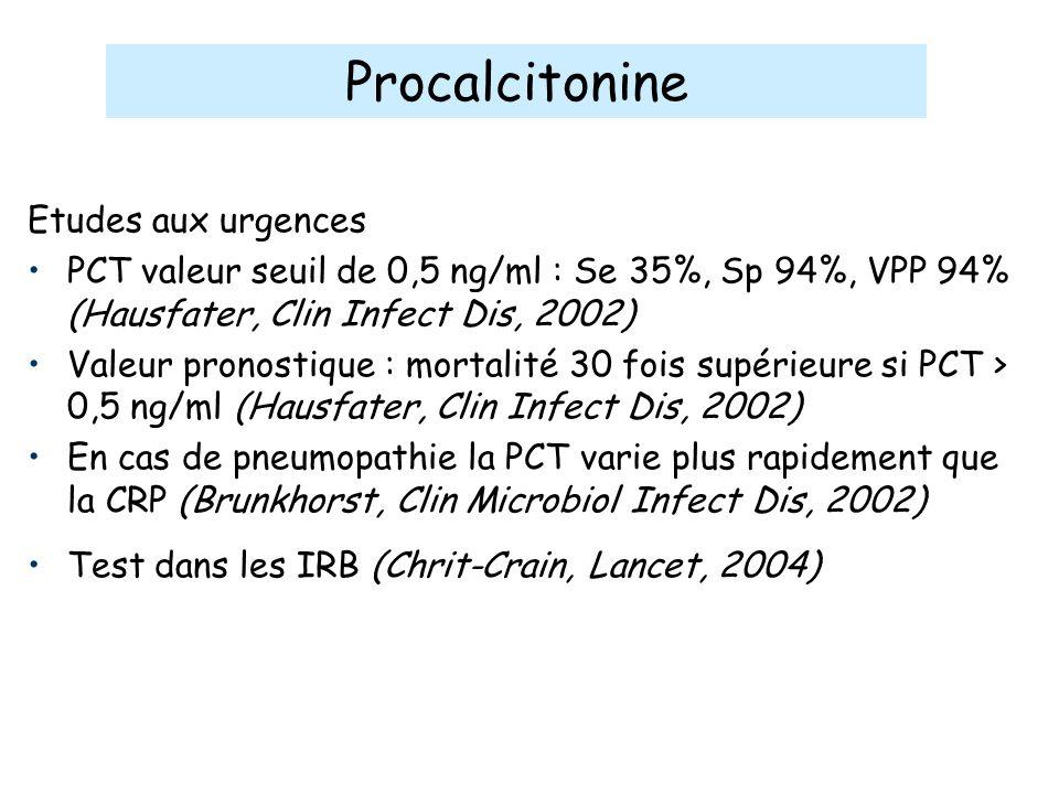 Etudes aux urgences PCT valeur seuil de 0,5 ng/ml : Se 35%, Sp 94%, VPP 94% (Hausfater, Clin Infect Dis, 2002) Valeur pronostique : mortalité 30 fois