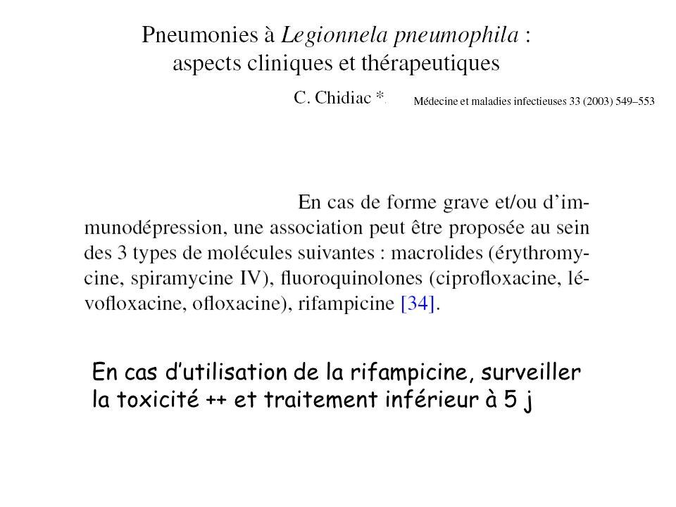 En cas dutilisation de la rifampicine, surveiller la toxicité ++ et traitement inférieur à 5 j