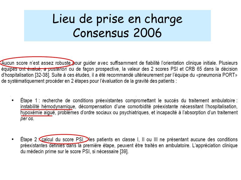 Lieu de prise en charge Consensus 2006