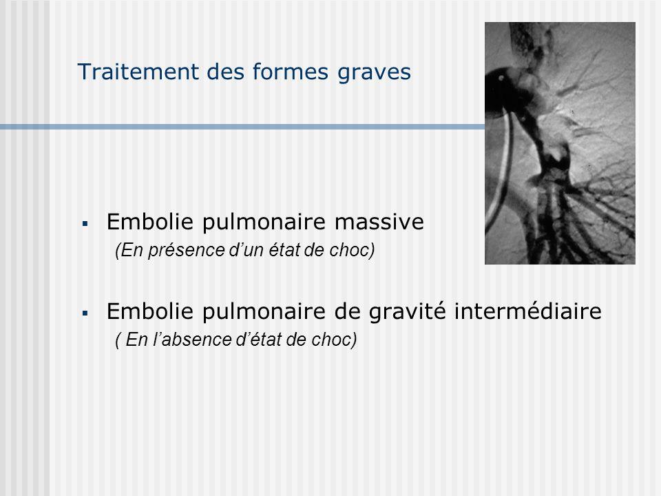 Traitement des formes graves Embolie pulmonaire massive (En présence dun état de choc) Embolie pulmonaire de gravité intermédiaire ( En labsence détat