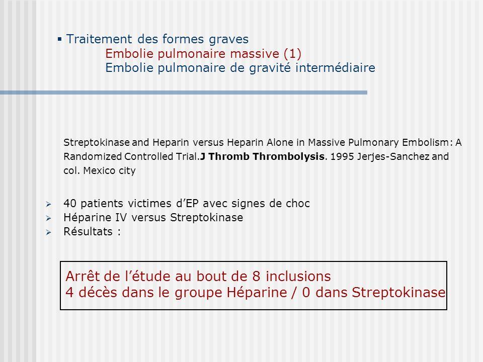 Traitement des formes graves Embolie pulmonaire massive (1) Embolie pulmonaire de gravité intermédiaire Streptokinase and Heparin versus Heparin Alone