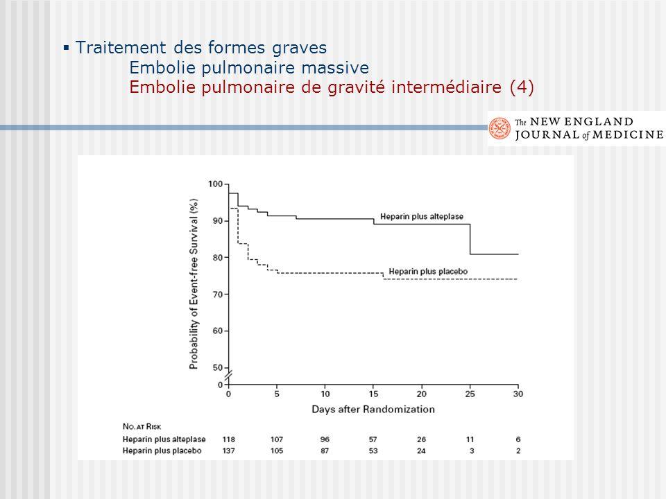 Traitement des formes graves Embolie pulmonaire massive Embolie pulmonaire de gravité intermédiaire (4)