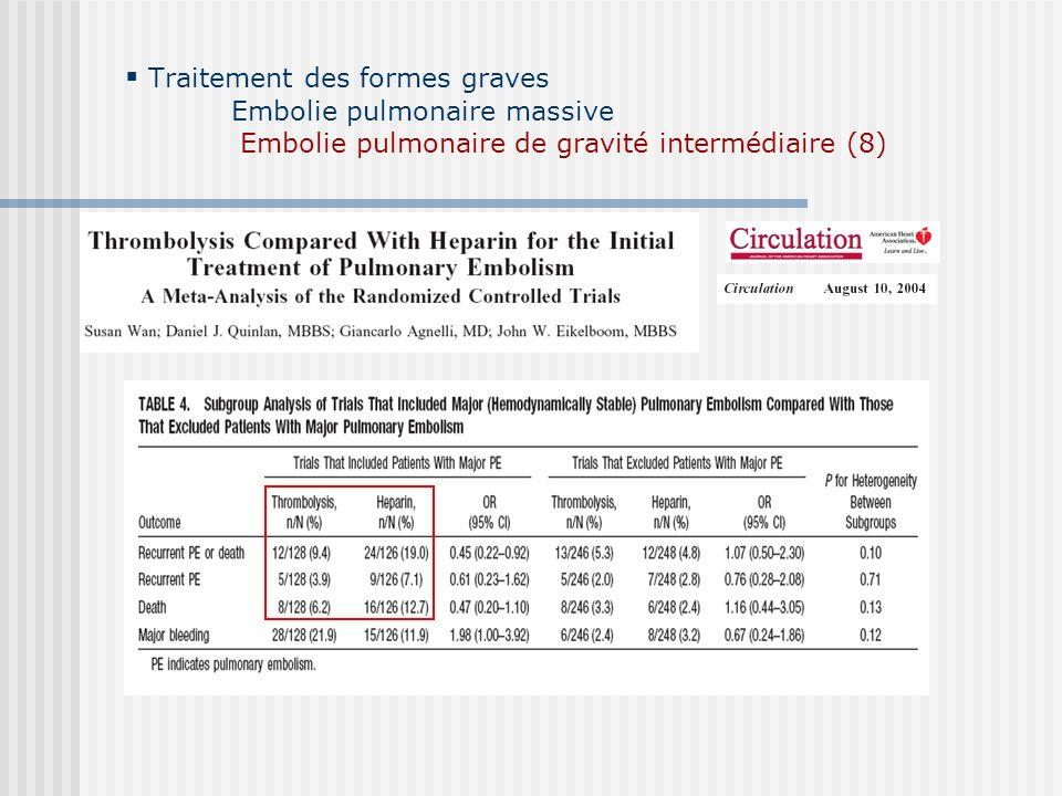 Traitement des formes graves Embolie pulmonaire massive Embolie pulmonaire de gravité intermédiaire (8)