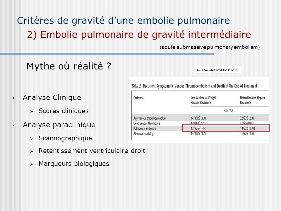 Critères de gravité dune embolie pulmonaire 2) Embolie pulmonaire de gravité intermédiaire Analyse Clinique Scores cliniques Analyse paraclinique Scan