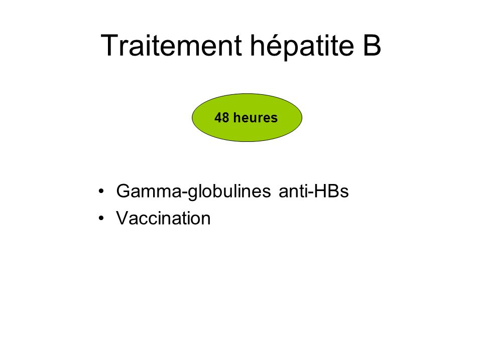 Traitement hépatite B Gamma-globulines anti-HBs Vaccination 48 heures