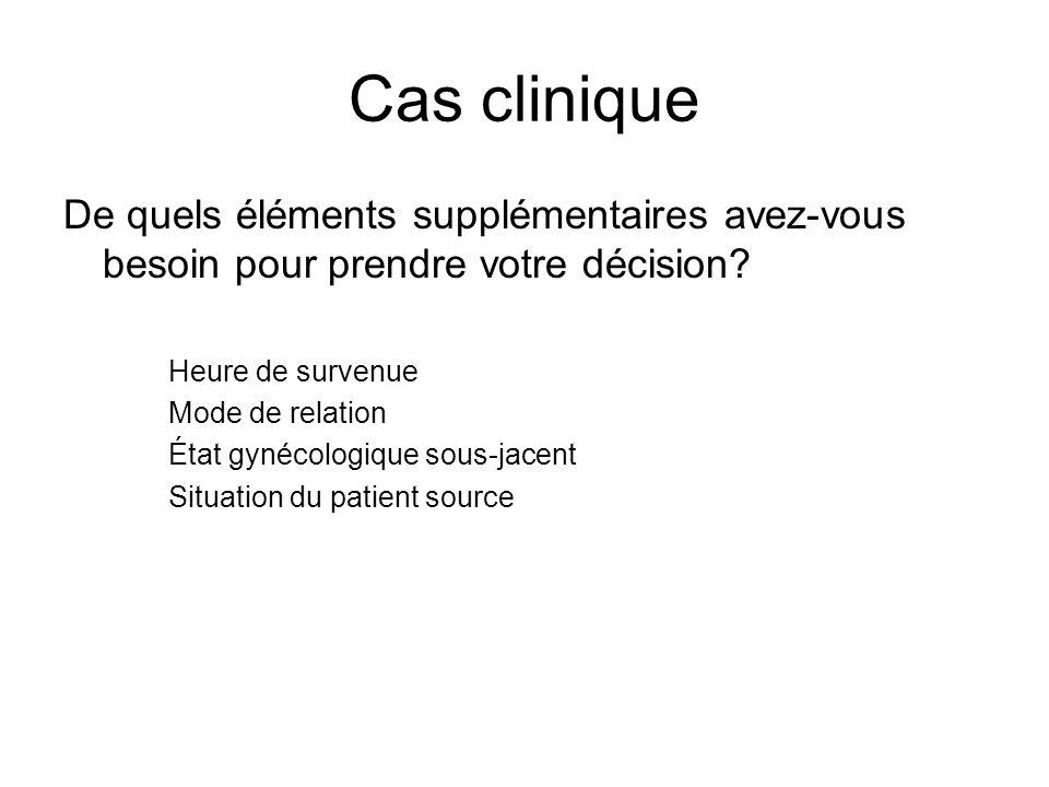 Cas clinique De quels éléments supplémentaires avez-vous besoin pour prendre votre décision? Heure de survenue Mode de relation État gynécologique sou
