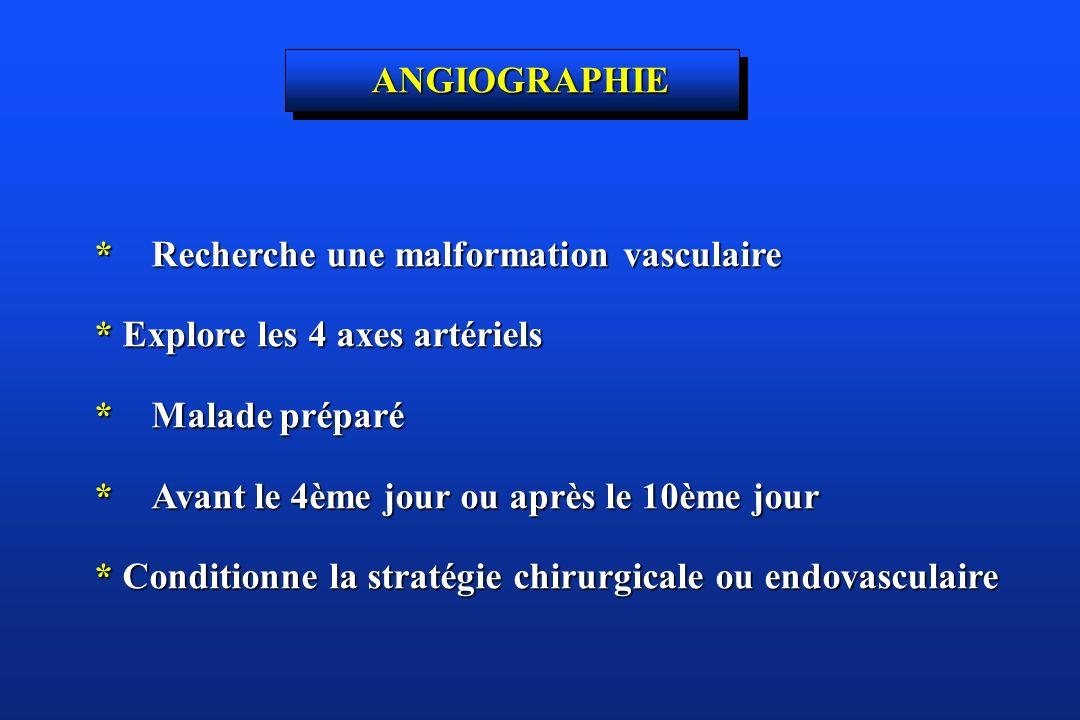 ANGIOGRAPHIE * Recherche une malformation vasculaire * Explore les 4 axes artériels * Malade préparé * Avant le 4ème jour ou après le 10ème jour * Con