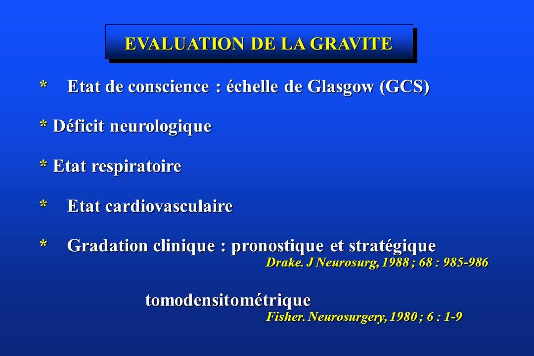 EVALUATION DE LA GRAVITE * Etat de conscience : échelle de Glasgow (GCS) * Déficit neurologique * Etat respiratoire * Etat cardiovasculaire * Gradatio