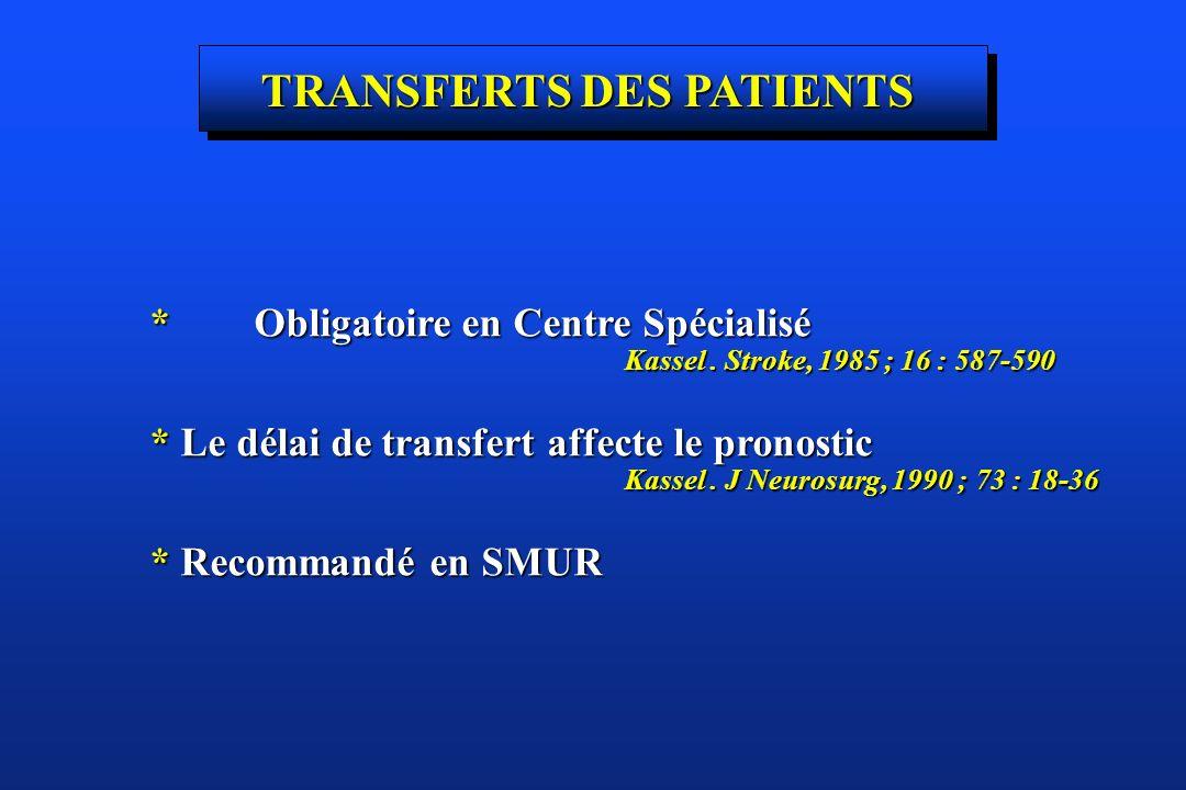 TRANSFERTS DES PATIENTS * Obligatoire en Centre Spécialisé Kassel. Stroke, 1985 ; 16 : 587-590 Kassel. Stroke, 1985 ; 16 : 587-590 * Le délai de trans