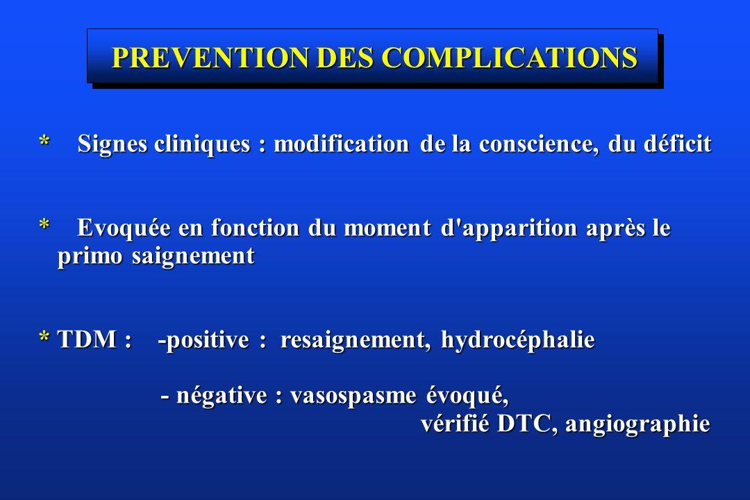 PREVENTION DES COMPLICATIONS * Signes cliniques : modification de la conscience, du déficit * Evoquée en fonction du moment d'apparition après le prim