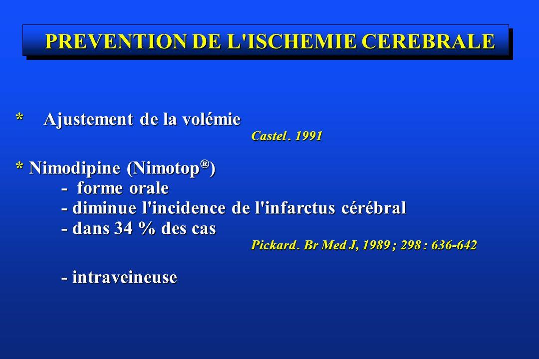 PREVENTION DE L'ISCHEMIE CEREBRALE * Ajustement de la volémie Castel. 1991 Castel. 1991 * Nimodipine (Nimotop ® ) - forme orale - forme orale - diminu