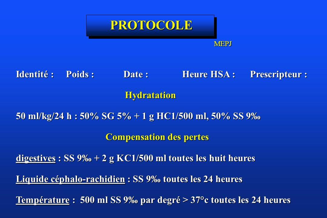 Identité : Poids : Date : Heure HSA : Prescripteur : Hydratation Hydratation 50 ml/kg/24 h : 50% SG 5% + 1 g HC1/500 ml, 50% SS 9 Compensation des per