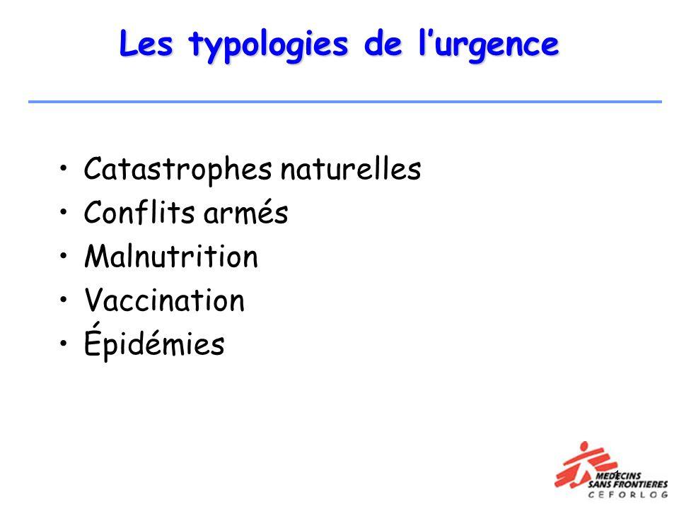 1 Les typologies de lurgence Catastrophes naturelles Conflits armés Malnutrition Vaccination Épidémies