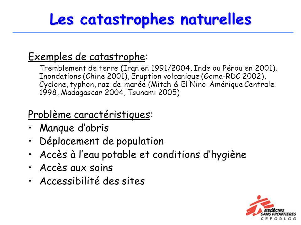 2 Les catastrophes naturelles Exemples de catastrophe: Tremblement de terre (Iran en 1991/2004, Inde ou Pérou en 2001). Inondations (Chine 2001), Érup