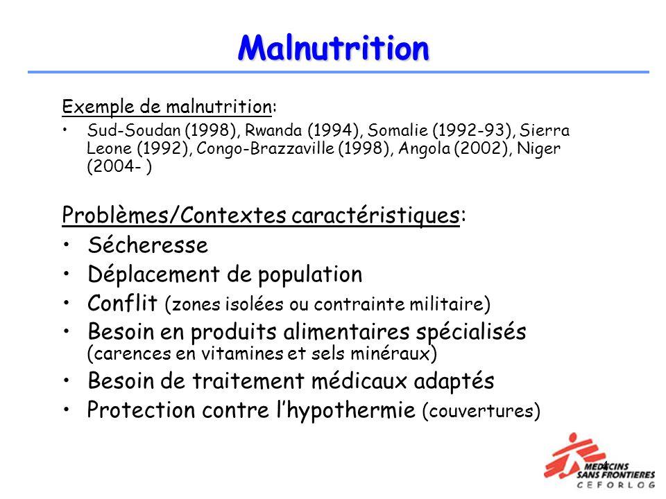 4 Malnutrition Exemple de malnutrition: Sud-Soudan (1998), Rwanda (1994), Somalie (1992-93), Sierra Leone (1992), Congo-Brazzaville (1998), Angola (20
