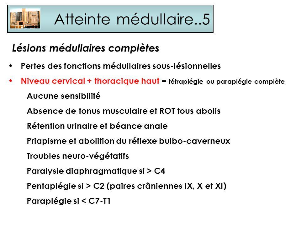 Atteinte médullaire..5 Pertes des fonctions médullaires sous-lésionnelles Niveau cervical + thoracique haut = tétraplégie ou paraplégie complète Aucun