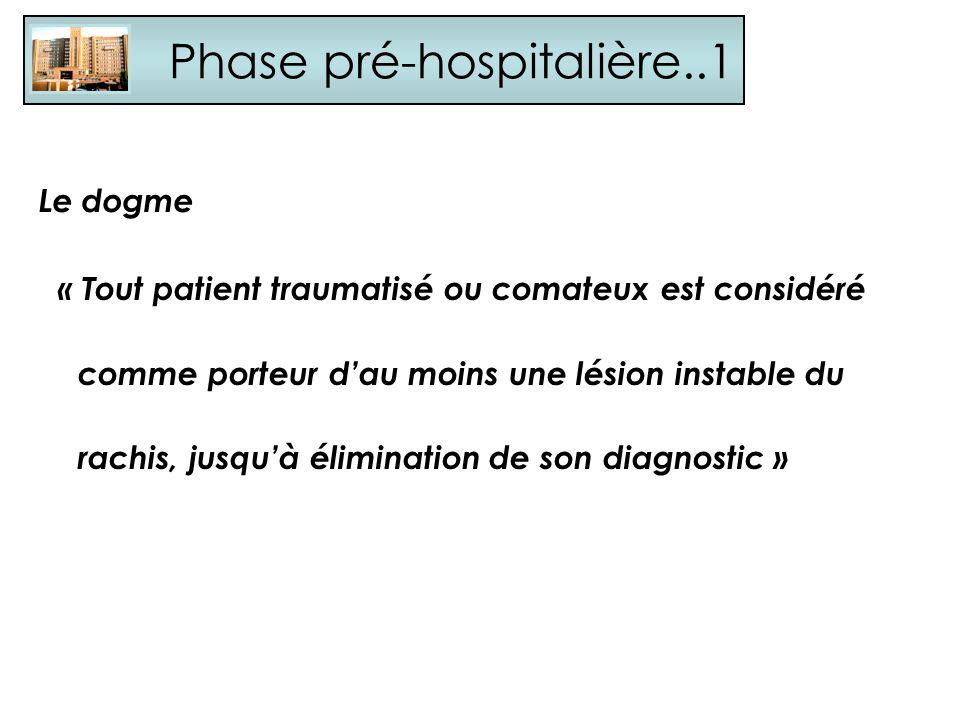 Phase pré-hospitalière..1 Le dogme « Tout patient traumatisé ou comateux est considéré comme porteur dau moins une lésion instable du rachis, jusquà é