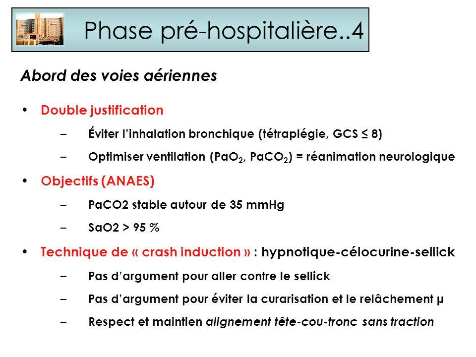Phase pré-hospitalière..4 Abord des voies aériennes Double justification – Éviter linhalation bronchique (tétraplégie, GCS 8) – Optimiser ventilation