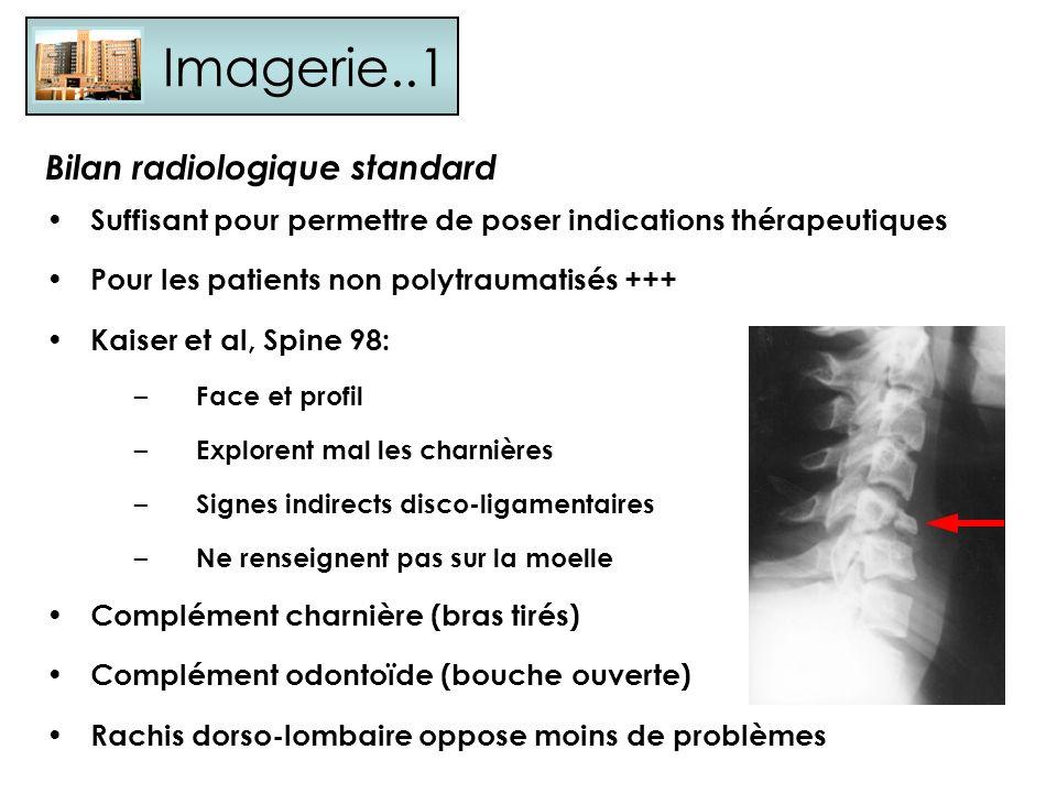 Imagerie..1 Bilan radiologique standard Suffisant pour permettre de poser indications thérapeutiques Pour les patients non polytraumatisés +++ Kaiser