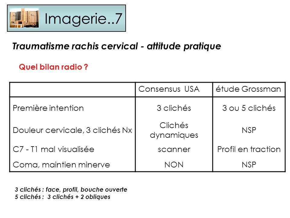 Imagerie..7 Quel bilan radio ? Traumatisme rachis cervical - attitude pratique Consensus USAétude Grossman Première intention3 clichés3 ou 5 clichés D