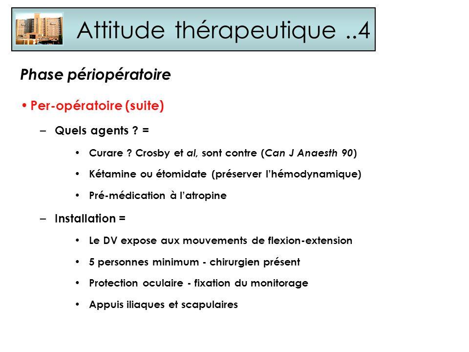 Attitude thérapeutique..4 Per-opératoire (suite) – Quels agents ? = Curare ? Crosby et al, sont contre ( Can J Anaesth 90 ) Kétamine ou étomidate (pré