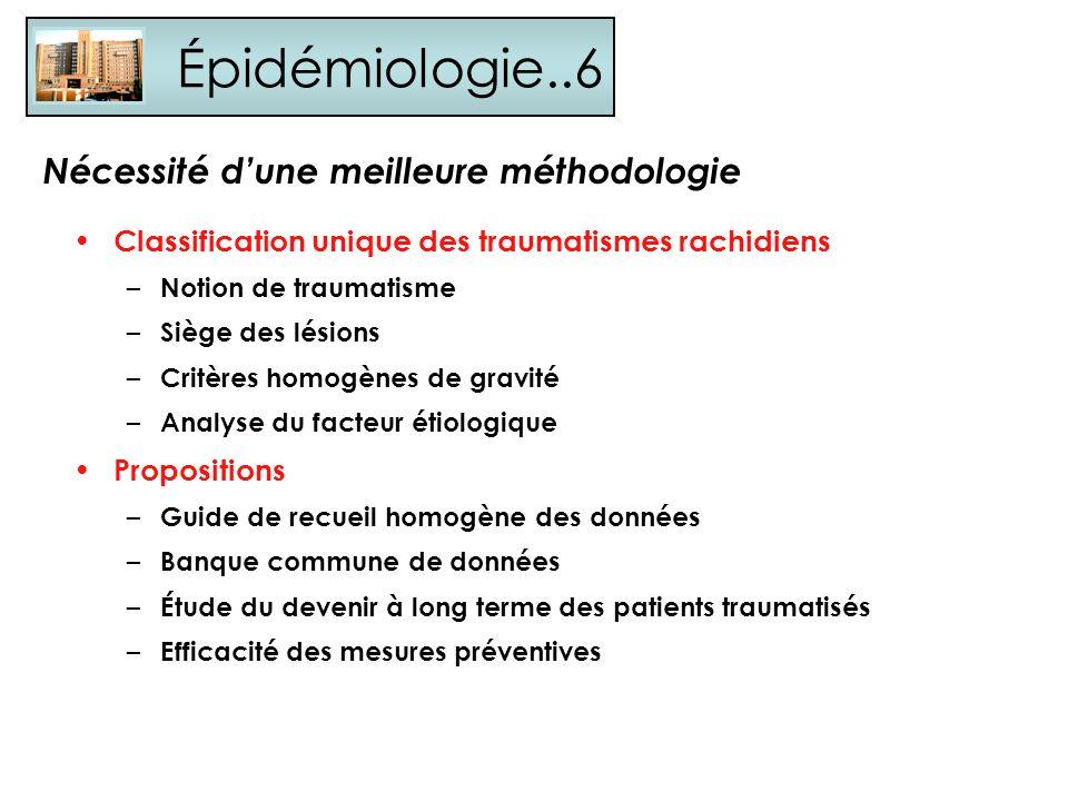Épidémiologie..6 Classification unique des traumatismes rachidiens – Notion de traumatisme – Siège des lésions – Critères homogènes de gravité – Analy