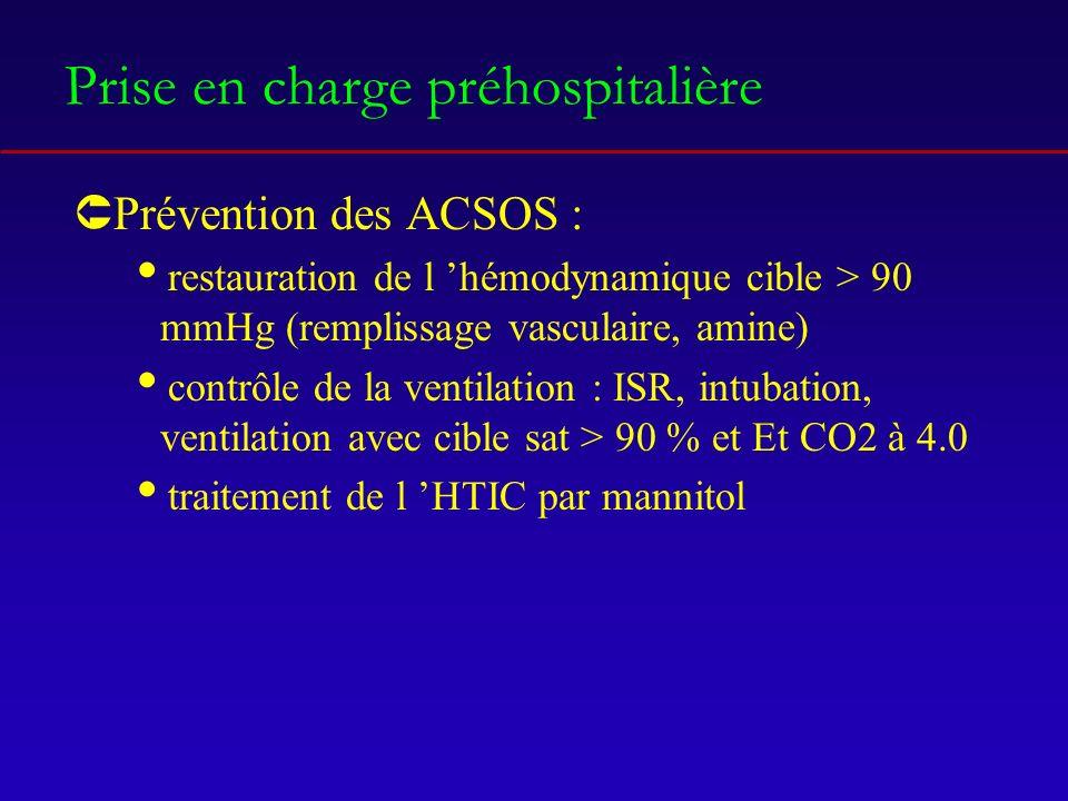 Prise en charge préhospitalière ÛPrévention des ACSOS : restauration de l hémodynamique cible > 90 mmHg (remplissage vasculaire, amine) contrôle de la ventilation : ISR, intubation, ventilation avec cible sat > 90 % et Et CO2 à 4.0 traitement de l HTIC par mannitol