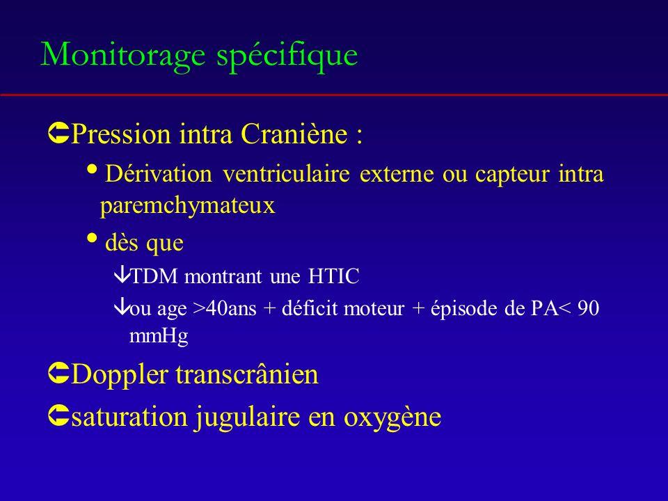 Monitorage spécifique ÛPression intra Craniène : Dérivation ventriculaire externe ou capteur intra paremchymateux dès que âTDM montrant une HTIC âou age >40ans + déficit moteur + épisode de PA< 90 mmHg ÛDoppler transcrânien Ûsaturation jugulaire en oxygène