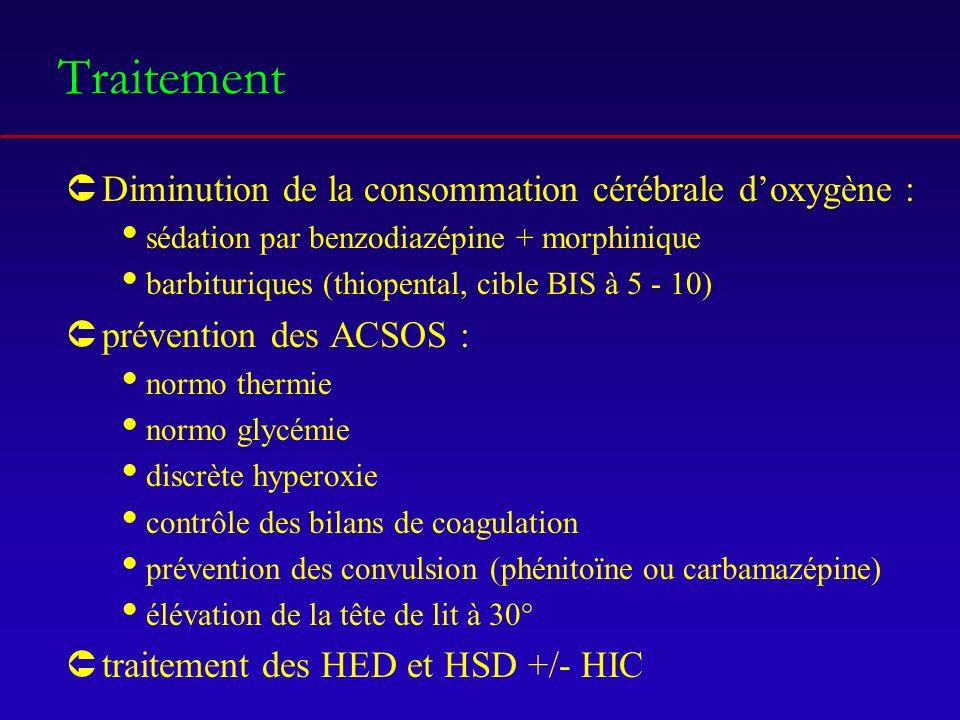 Traitement ÛDiminution de la consommation cérébrale doxygène : sédation par benzodiazépine + morphinique barbituriques (thiopental, cible BIS à 5 - 10) Ûprévention des ACSOS : normo thermie normo glycémie discrète hyperoxie contrôle des bilans de coagulation prévention des convulsion (phénitoïne ou carbamazépine) élévation de la tête de lit à 30° Ûtraitement des HED et HSD +/- HIC