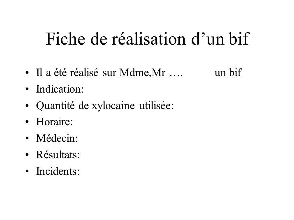 Fiche de réalisation dun bif Il a été réalisé sur Mdme,Mr …. un bif Indication: Quantité de xylocaine utilisée: Horaire: Médecin: Résultats: Incidents