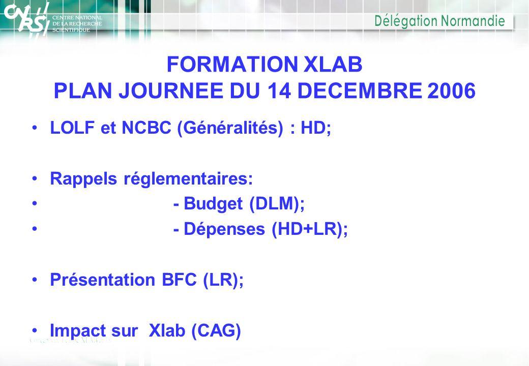 FORMATION XLAB PLAN JOURNEE DU 14 DECEMBRE 2006 LOLF et NCBC (Généralités) : HD; Rappels réglementaires: - Budget (DLM); - Dépenses (HD+LR); Présentat