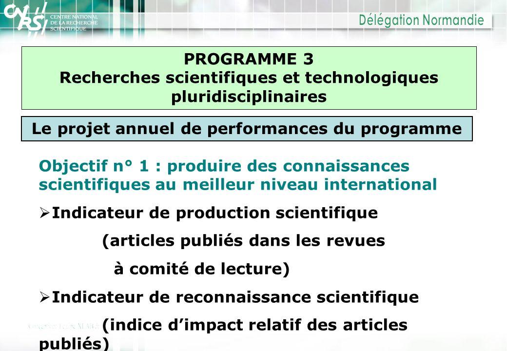 PROGRAMME 3 Recherches scientifiques et technologiques pluridisciplinaires Le projet annuel de performances du programme Objectif n° 1 : produire des