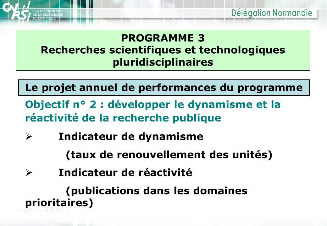 PROGRAMME 3 Recherches scientifiques et technologiques pluridisciplinaires Le projet annuel de performances du programme Objectif n° 2 : développer le