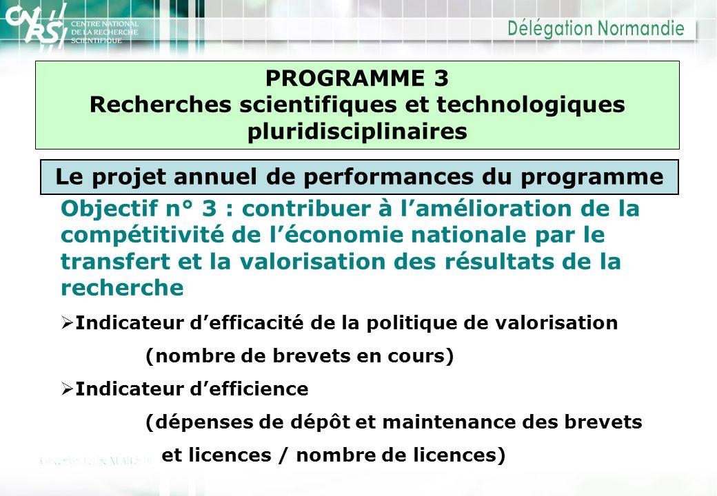 PROGRAMME 3 Recherches scientifiques et technologiques pluridisciplinaires Le projet annuel de performances du programme Objectif n° 3 : contribuer à