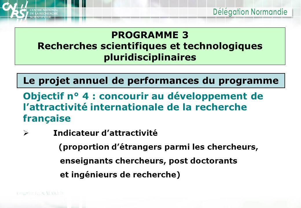 PROGRAMME 3 Recherches scientifiques et technologiques pluridisciplinaires Le projet annuel de performances du programme Objectif n° 4 : concourir au