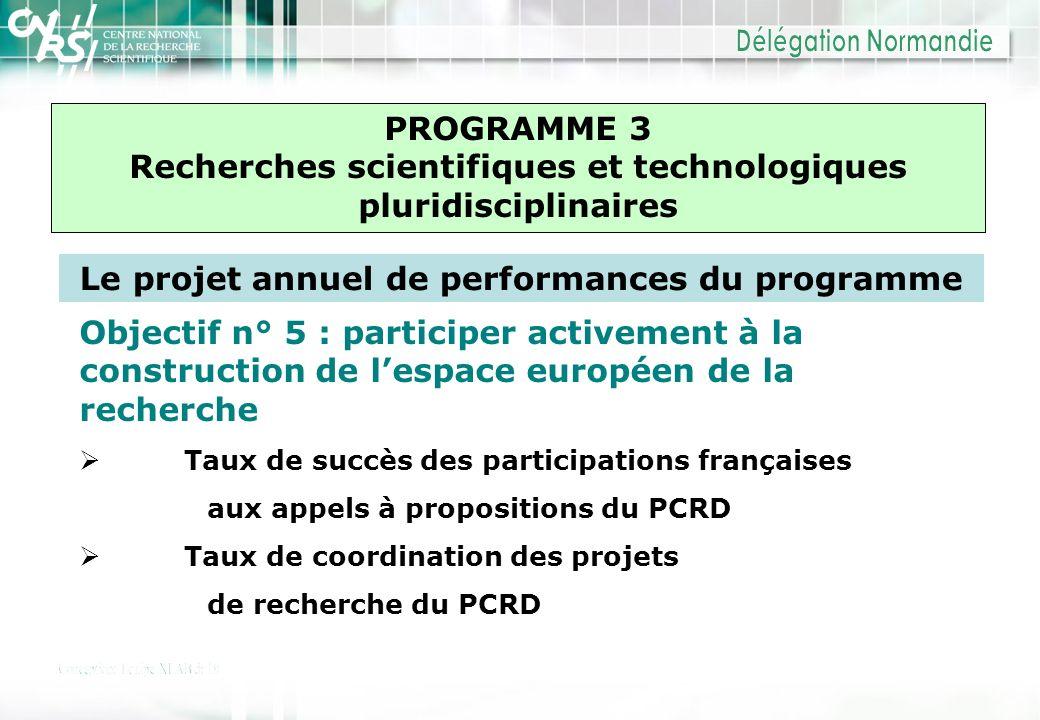 PROGRAMME 3 Recherches scientifiques et technologiques pluridisciplinaires Le projet annuel de performances du programme Objectif n° 5 : participer ac