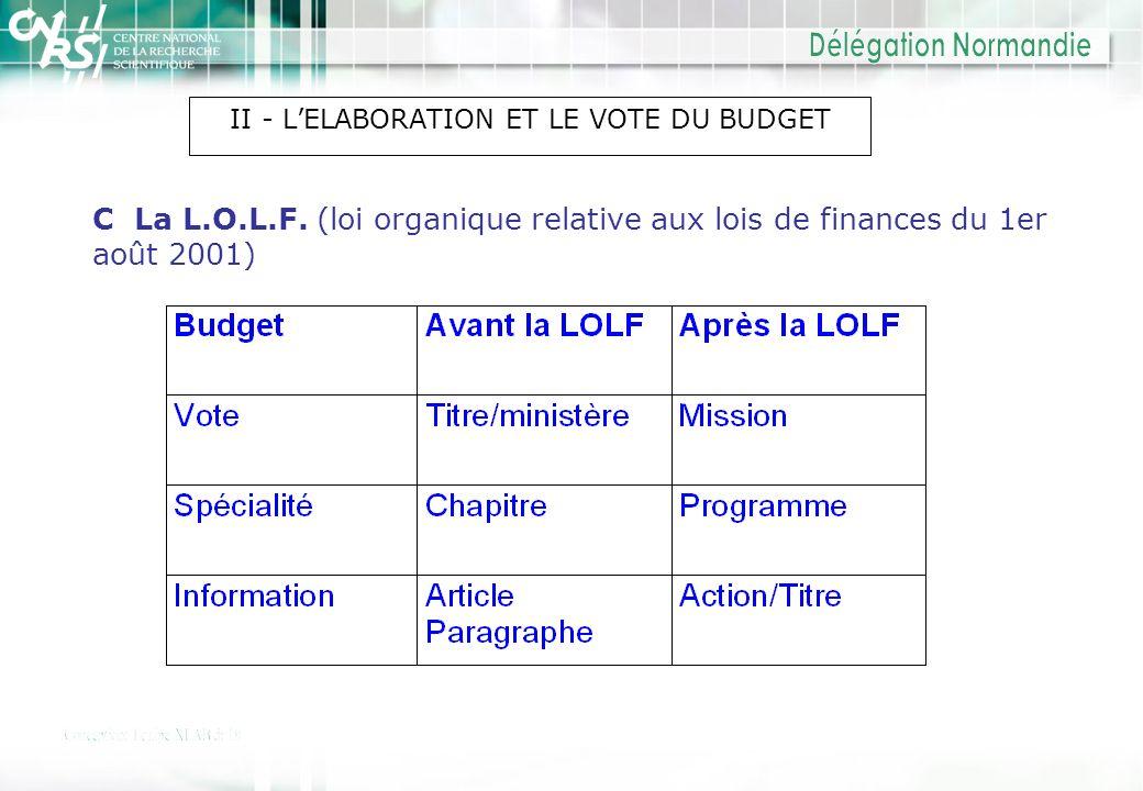 II - LELABORATION ET LE VOTE DU BUDGET C La L.O.L.F. (loi organique relative aux lois de finances du 1er août 2001)