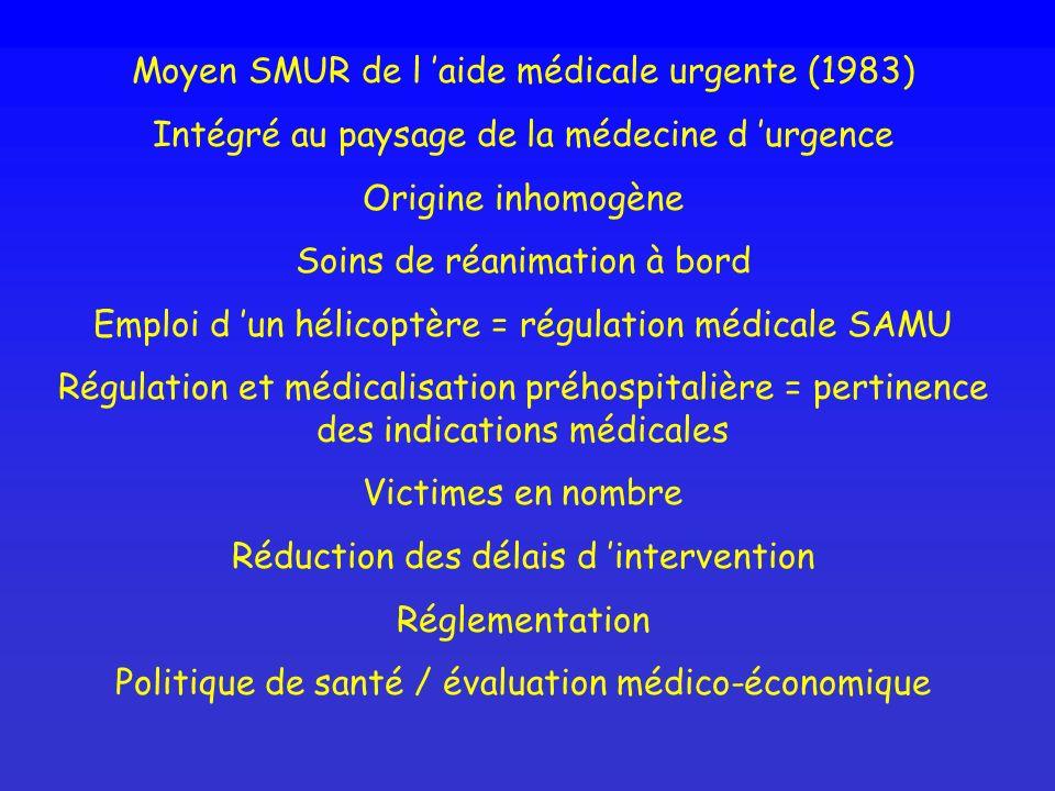 Moyen SMUR de l aide médicale urgente (1983) Intégré au paysage de la médecine d urgence Origine inhomogène Soins de réanimation à bord Emploi d un hé