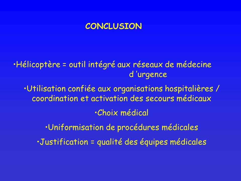 CONCLUSION Hélicoptère = outil intégré aux réseaux de médecine d urgence Utilisation confiée aux organisations hospitalières / coordination et activat