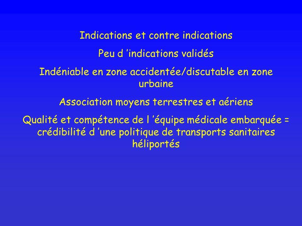 Indications et contre indications Peu d indications validés Indéniable en zone accidentée/discutable en zone urbaine Association moyens terrestres et
