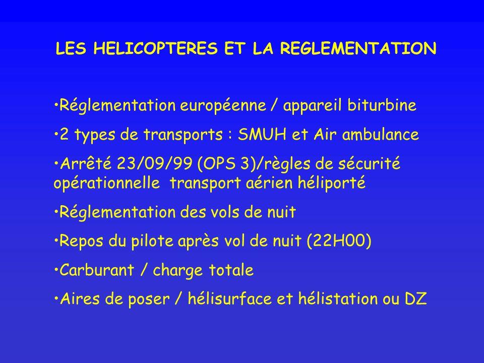 LES HELICOPTERES ET LA REGLEMENTATION Réglementation européenne / appareil biturbine 2 types de transports : SMUH et Air ambulance Arrêté 23/09/99 (OP