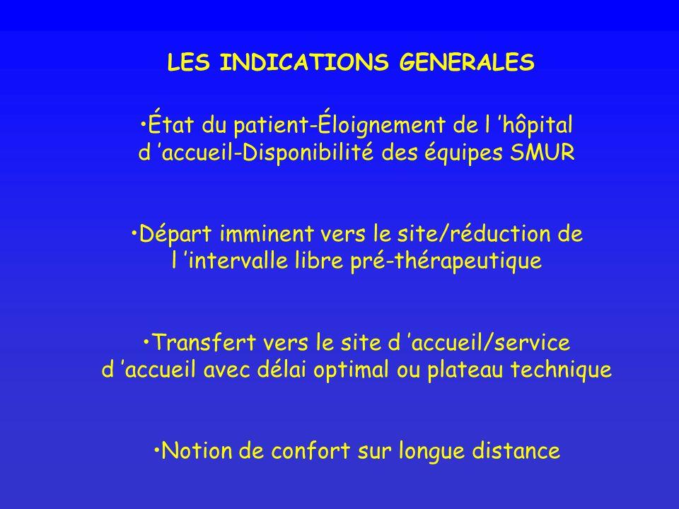 LES INDICATIONS GENERALES État du patient-Éloignement de l hôpital d accueil-Disponibilité des équipes SMUR Départ imminent vers le site/réduction de