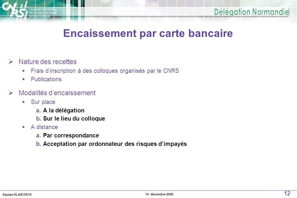 Equipe XLAB DR19 12 14 décembre 2006 Encaissement par carte bancaire Nature des recettes Frais dinscription à des colloques organisés par le CNRS Publ