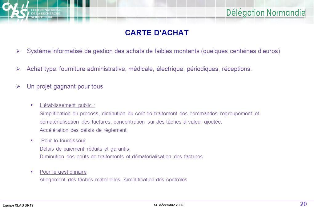 Equipe XLAB DR19 20 14 décembre 2006 CARTE DACHAT Système informatisé de gestion des achats de faibles montants (quelques centaines deuros) Achat type